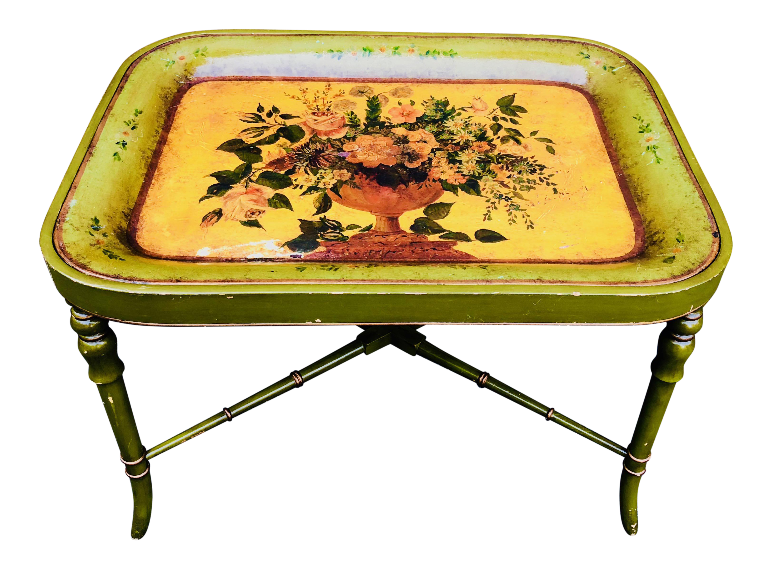 Regency Green And Gold Painted Tole Tray Table