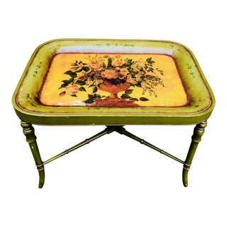 Regency Style Green and Gold Painted Tole Tray Table For Sale
