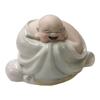 "12"" Chinese Jingdezhen Porcelain Wealth lucky happy Maitreya Buddha statue"
