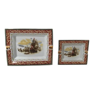Vintage Nesting Porcelain Ashtrays - a Pair For Sale