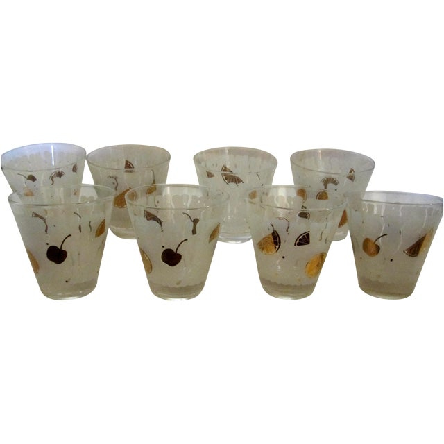 Mid-Century Gold & White Juice Glasses - Set of 8 For Sale