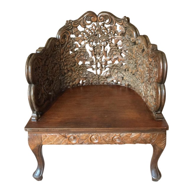 Ornately Carved Wooden Asian Accent Chair - Image 1 of 10