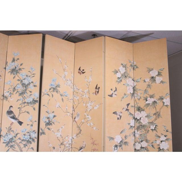Monumental Oriental 2 Piece 8 Panel Hand Painted Folding Screen Room Divider For Sale - Image 9 of 13