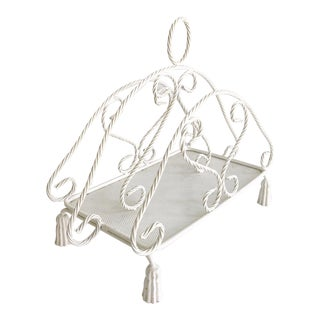 Vintage Italian Rope & Tassel Tole Magazine Rack Painted White For Sale
