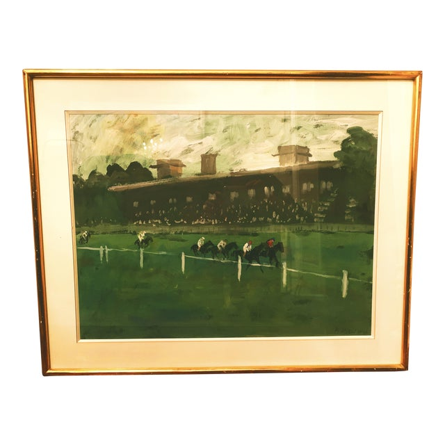 1970s Horse Race on the Green Track Framed Original Painting Signed by the Artist For Sale
