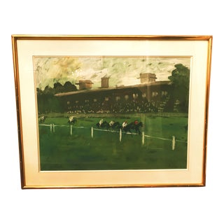 1970s Vintage Horse Race on the Green Track Framed Original Painting For Sale