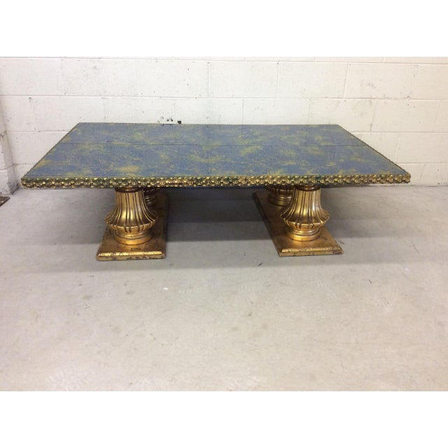Monumental Italian Gold Gilt Carved Wood & Painted Glass Top Coffee Table - Image 2 of 11