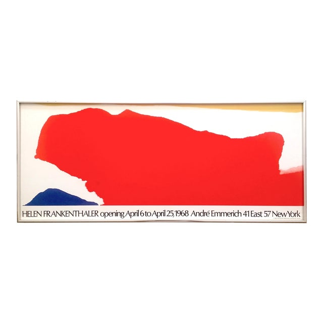 Helen Frankenthaler Rare 1974 Mid Century Modern Abstract Expressionist Lithograph Print Framed Exhibition Poster For Sale