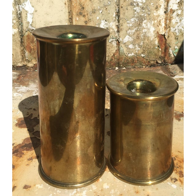 Vintage Cylindrical Brass Candle Holders - A Pair - Image 2 of 6
