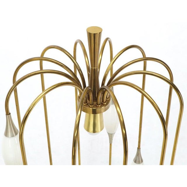 1970s Large Waterfall Brass Floor Lamp Light Fixture For Sale - Image 5 of 12