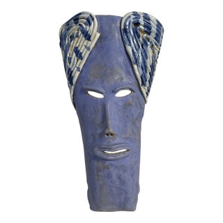 Glazed Pottery Mask Wall Sculpture For Sale