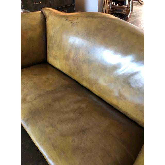 Early 20th Century Leather Settee Sofa on Mahogany Base For Sale In Los Angeles - Image 6 of 7