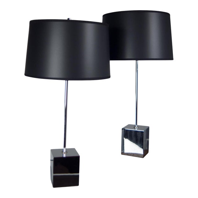Chrome Cube Based Table Lamps - A Pair - Image 1 of 3