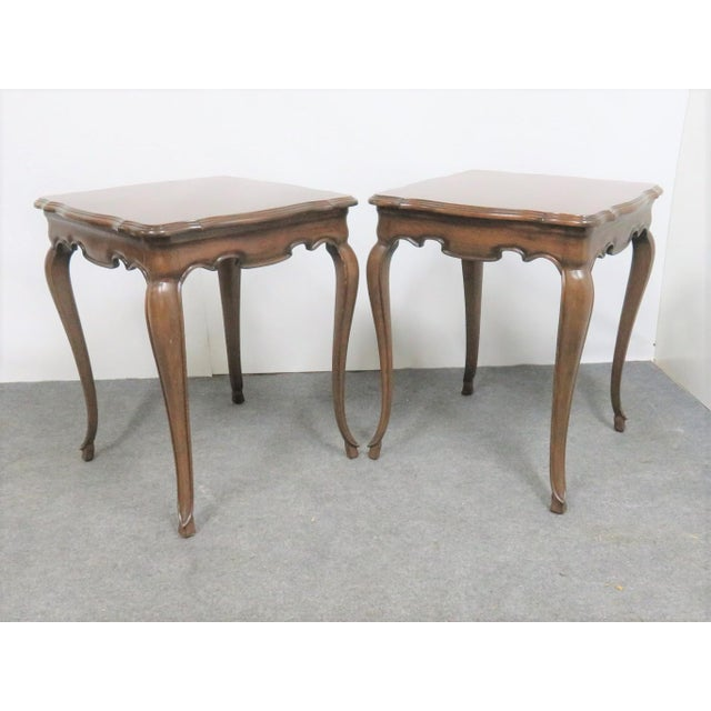 French Style Walnut Side Tables - a Pair For Sale In Philadelphia - Image 6 of 6
