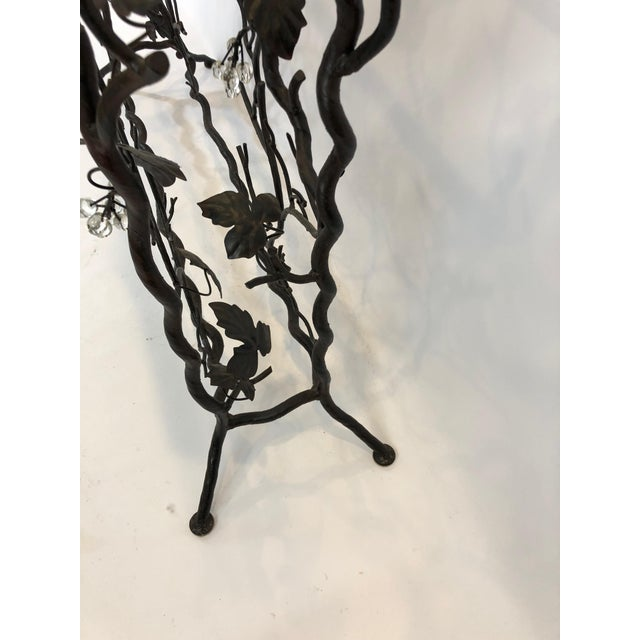 1980s Traditional Hand Forged Iron Console Table and Wine Rack For Sale - Image 4 of 11