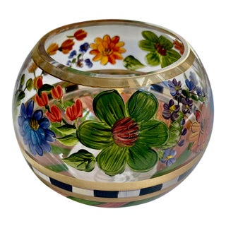Mackenzie Childs Hand Painted Floral Glass Bowl For Sale