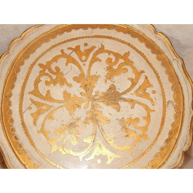 Italian Gold Gilt Wood Florentine Round Pedestal Side Table - Image 6 of 10