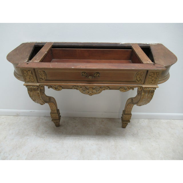 Early French Victorian Marble Top Wall Hall Console Server Table For Sale - Image 11 of 13