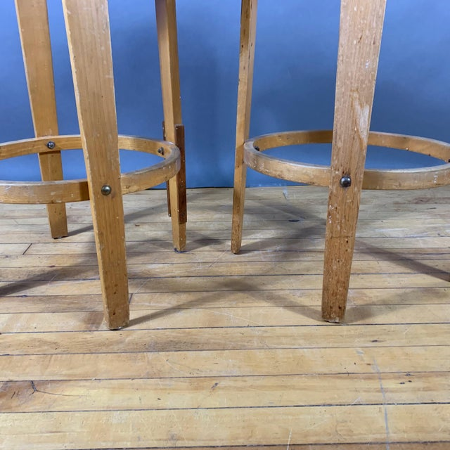 """Mid-Century Bentwood Birch 26"""" Stool, Wool Upholstery For Sale - Image 4 of 9"""