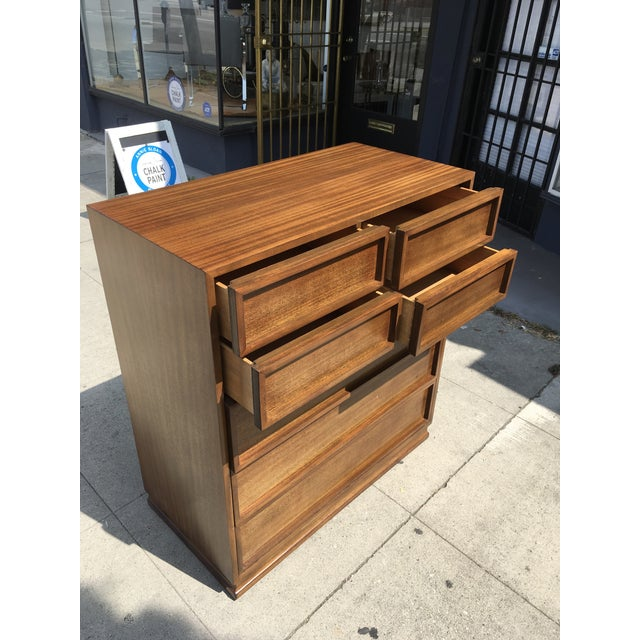 Brown 1950s Mid Century Modern Triangle Brand Mahogany Highboy For Sale - Image 8 of 12