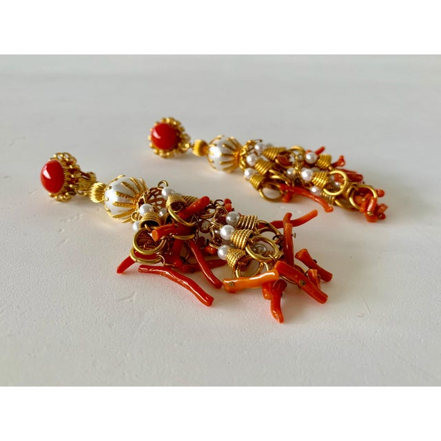 Orange Vintage Pearl and Coral Chandelier Statement Earrings For Sale - Image 8 of 13