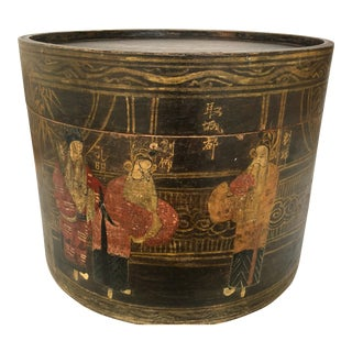 19th Century Antique Chinese Painted Hat Box For Sale