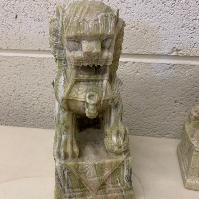 Green Stone Marble Foo Dogs Bookends - a Pair For Sale In Richmond - Image 6 of 13