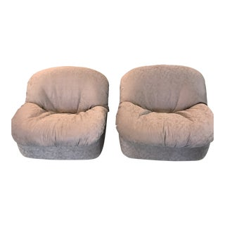 1970's Faux Elephant Suede Fabric Swivel Tub Chairs - a Pair