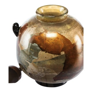 Hiroshi Yamano Lidded Vase Blown and Cold Worked Glass, Copper and Synthetic Bristle For Sale