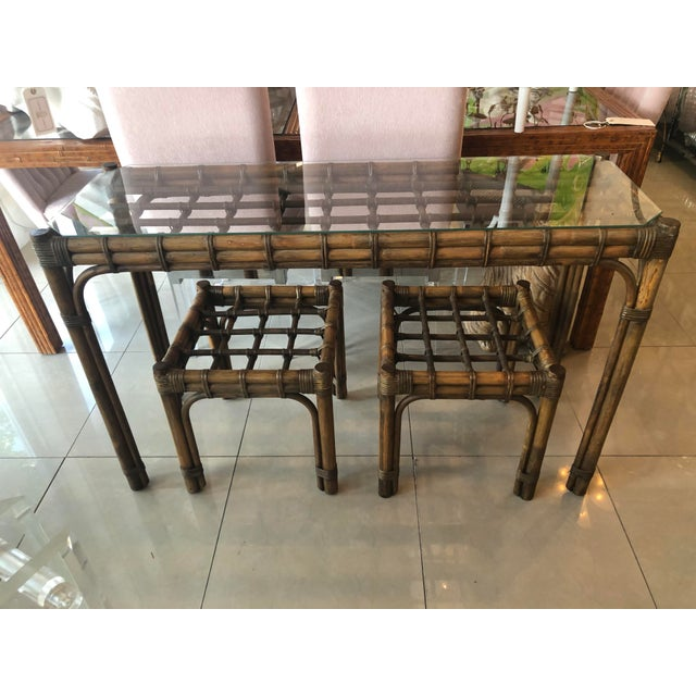 Boho Chic Vintage Tropical Bamboo Rattan Console Table and Benches - 3 Pc. Set For Sale - Image 3 of 13