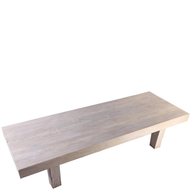 Rustic White Modern Teak Coffee Table For Sale In Boston - Image 6 of 8