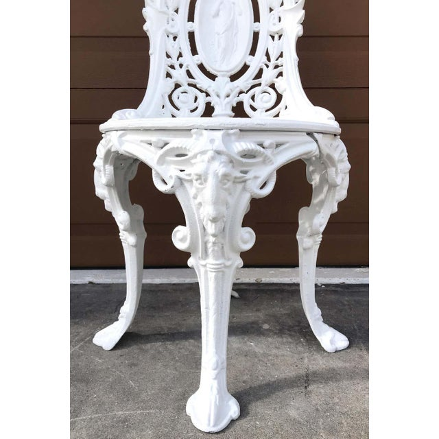 Pair of Victorian Angel Motif Wrought Iron Garden Chairs, Restored For Sale - Image 11 of 12