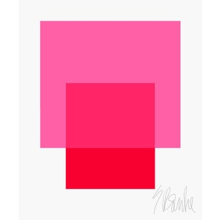 """The Interaction of Bright Pink and Red Fine Art Print 35"""" X 45"""" by Liz Roache For Sale"""