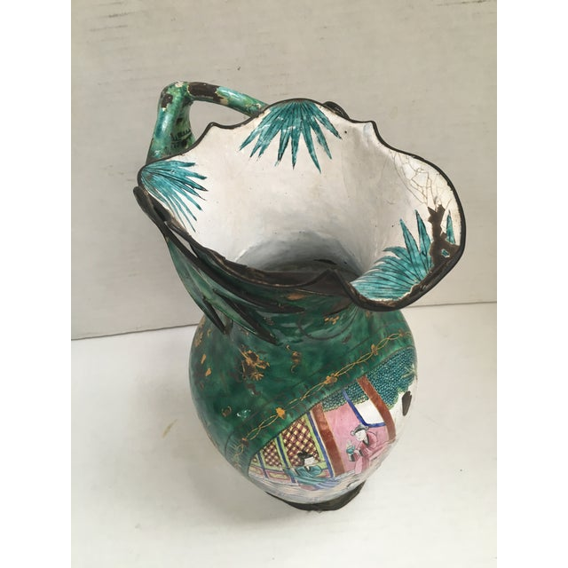 Asian Enamel on Copper Pitcher For Sale - Image 4 of 11
