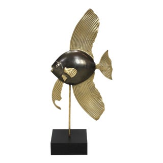 Mid-Century Brass Angel Fish on Black Base For Sale