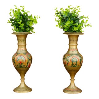 Pair of Brass Moroccan Vase For Sale
