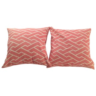 Pink Maze Square Pillow Covers - A Pair