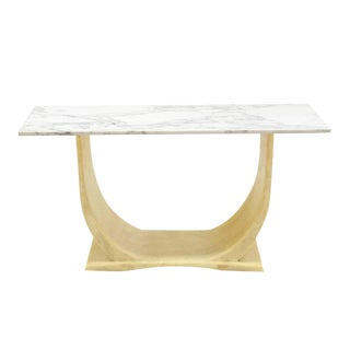 U Shape Base Marble Top Mid Century Modern Console Sofa Hall Table For Sale