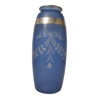 Antique Blue Glass Hawkes Vase