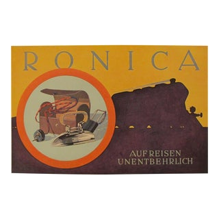 1923 Austrian Art Deco Poster, Ronica - Willrab For Sale