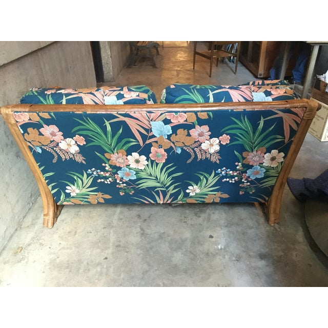 Vintage Rattan & Tropical Print Fabric Upholstered Loveseat - Image 3 of 5