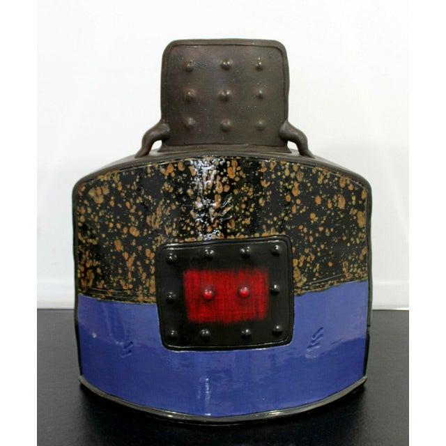 Mid Century Modern Studio Ceramic Red Square Vessel Vase Table Sculpture For Sale - Image 9 of 9