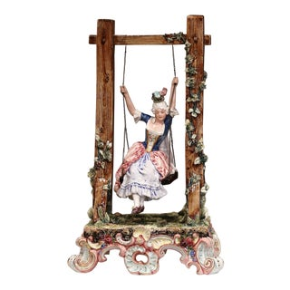 20th Century French Porcelain Barbotine Composition With Young Beauty on Swing For Sale