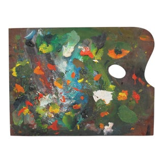 Mid-Century French Artist Painter Wood Paint Palette For Sale
