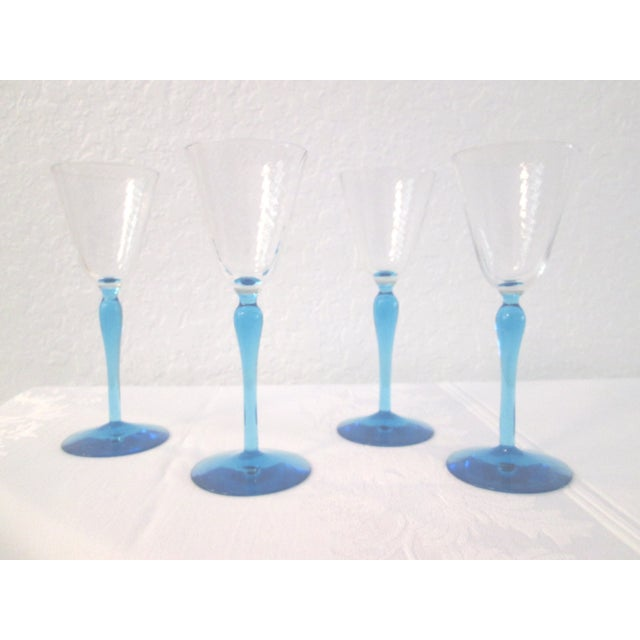 Sea Blue Stemmed Port Wine Glasses - Set of 4 - Image 2 of 5