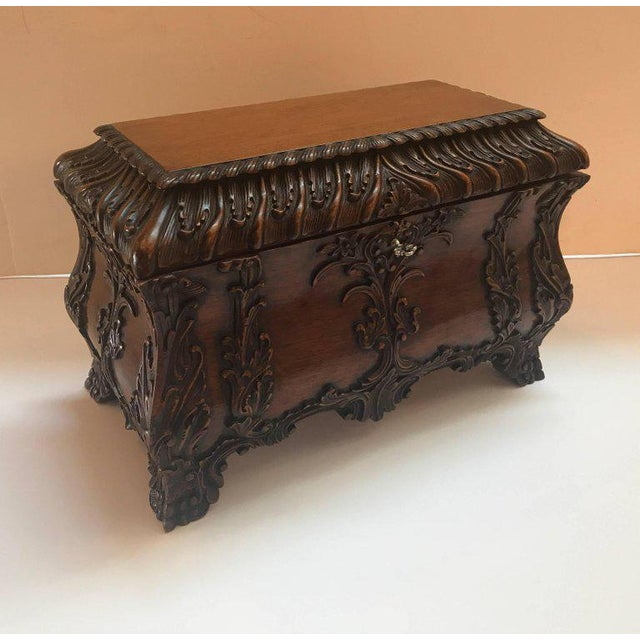 1990s Maitland-Smith Carved Mahogany Hinged Tea Caddy Box For Sale - Image 12 of 13