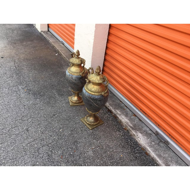 Beautiful vintage close vases made of marble and bronze very unique and heavy you going to love it