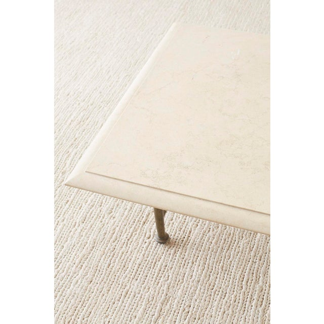 Italian Hollywood Regency Marble-Top Brass Cocktail Table For Sale - Image 12 of 13