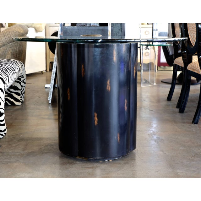 Unusual McGuire Glass Top Metal and Wood Table For Sale - Image 10 of 10