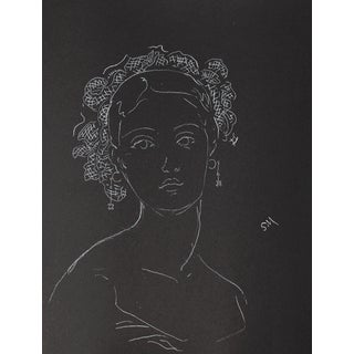 """Portrait With Ribbons"", White Charcoal Drawing by Sarah Myers For Sale"